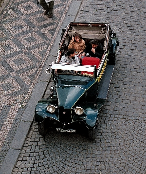 Right-hand drive vintage car in Prague © John Millar