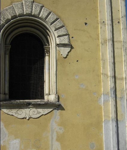 Catholic Church in Karlovac with partially repaired war damage © Ricky Yates