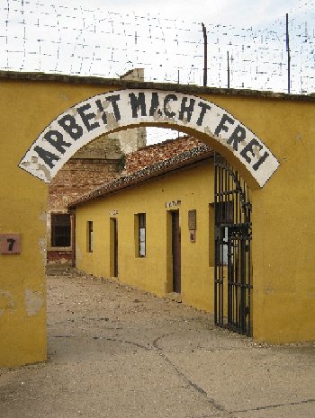 'Arbeit Macht Frei' - 'Work makes you free' - the ironic inscription over an archway in the small fortress at Terezín © Ricky Yates