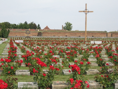 National Cemetery in the foreground of the Small Fortress, Terezín © Ricky Yates