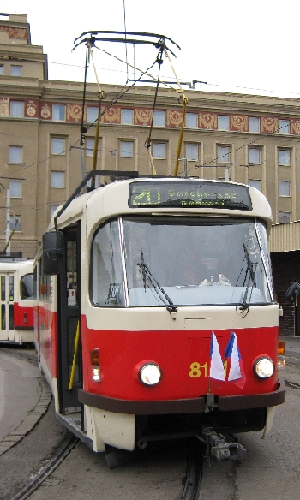 Tram with two flags © Ricky Yates
