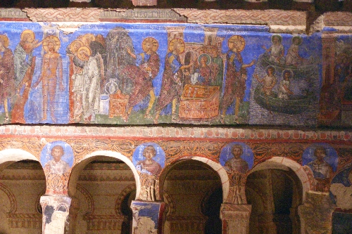 Painting in the Tokali Church with earlier simple decoration also visible © Sybille Yates