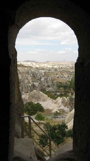 View across Cappadocia from Church entrance - note stairway with handrails to give safe access © Ricky Yates