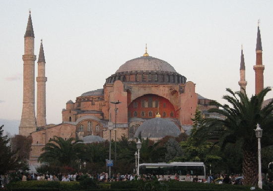 Aya Sophia in Istanbul © Ricky Yates. Originally built as a Church, it was converted to a mosque with the addition of minarets after the fall of Constantinople in 1453. In 1935 under the government of Ataturk, it was turned into a museum and some of the Christian mosiacs and frescoes uncovered and restored.