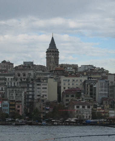 Galata Tower, Istanbul from the Bosphorus © Ricky Yates. Christ Church Anglican Church is located in a street leading off the square that surrounds the Galata Tower.
