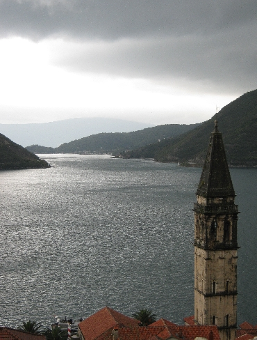 The Bell Tower of St. Nicholas's Church, Perast looking across to the channel leading to the Adriatic Sea © Ricky Yates