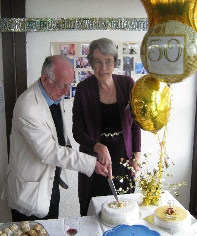 Garry June cutting their Golden Wedding anniversary cake Ricky Yates