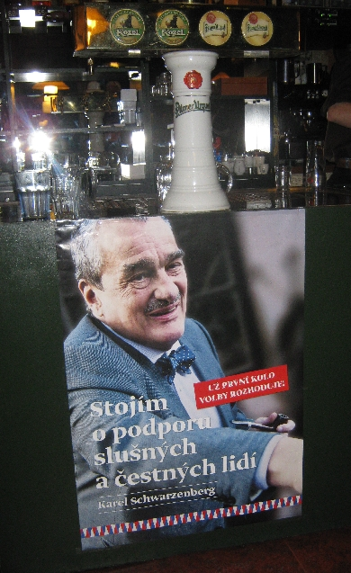 Karel Schwarzenberg election poster on the bar at Restaurace U Topolu © Ricky Yates