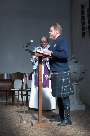 Matthew reading the Gospel in advance of preaching on Passion Sunday © Sybille Yates