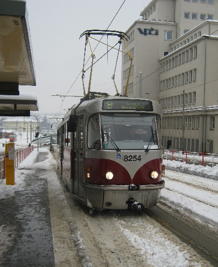 Tram 8 arrives at the Podbaba Tram Stop © Ricky Yates