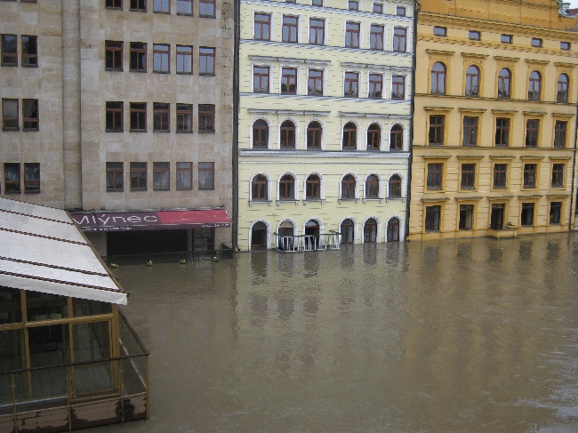 Flood defences cannot save these buildings adjacent to Charles Bridge © Ricky Yates