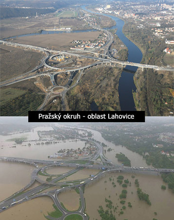 The Lahovice interchange south of Prague where the ring road crosses the main road south from Prague city centre. The top photo is how it should be; the bottom photo is how it was on Monday 3rd March