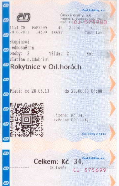Our Czech railway ticket