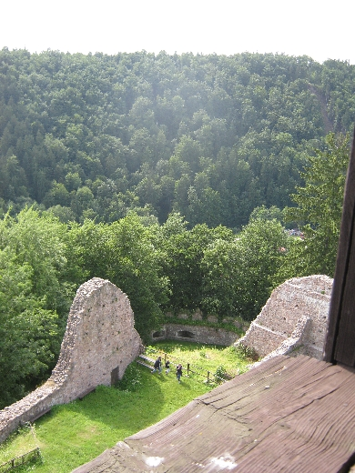 View of the remaining fortifications from the tower of Litice Castle © Ricky Yates