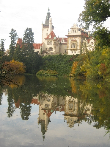 Pruhonice Zamek reflected in the adjoining lake © Ricky Yates