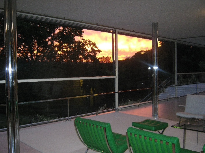 An amazing sunset seen from inside Villa Tugendhat © Ricky Yates