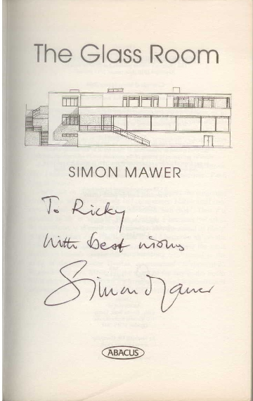 My copy of 'The Glass Room', suitably inscribed by the author