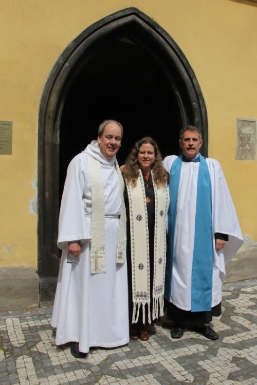 With Rev'd Dr Karen Moritz and Jack Noonan outside St. Clement's Church, Prague on Easter Day © Celieta Leifeste