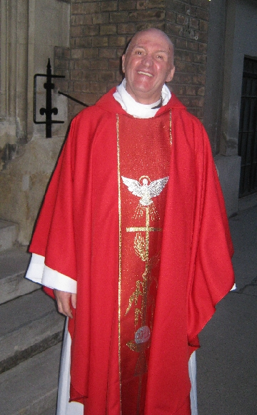 Rev'd John Barker outside Christ Church, Vienna following his ordination as priest © Ricky Yates