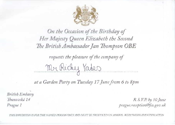 My official invitation - minus the 'Rev'd' :-(