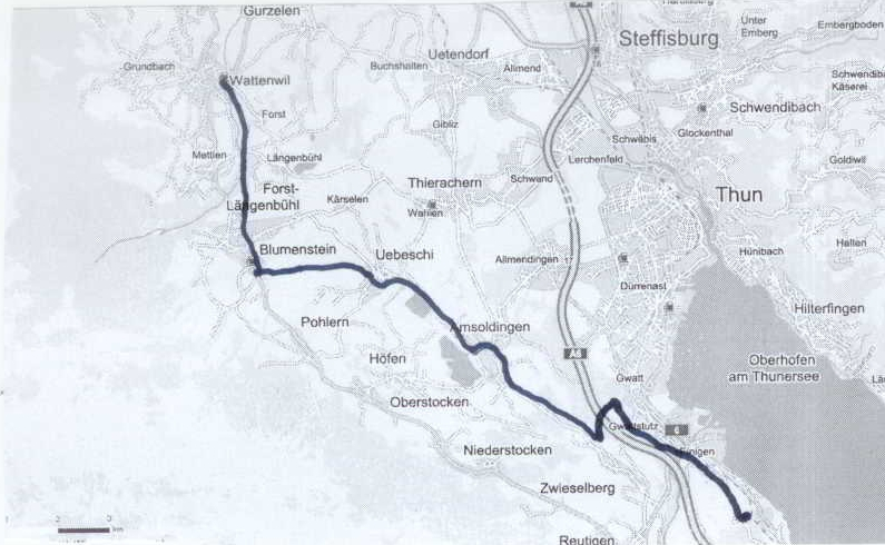 Route from Einigen to Wattenwil