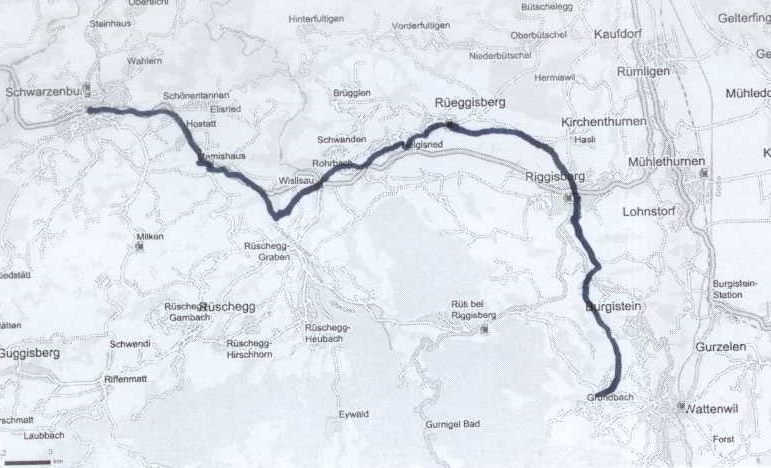 Route from Wattenwil to Schwarzenburg