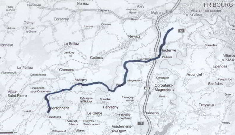 Route from Froidville bei Posieux to Orsonnens 17km