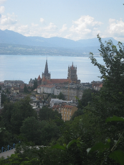 Lausanne Cathedral with Lac Léman beyond © Ricky Yates