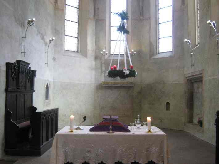 The altar at the end of our worship on the Fourth Sunday in Advent © Ricky Yates