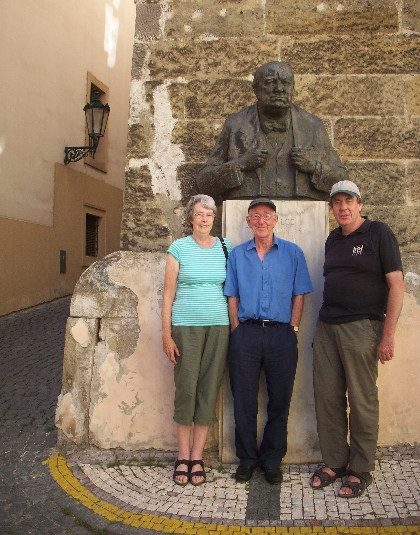 The bust of Sir Winston Churchill, along with my sister, brother-in-law & me © June Taylor