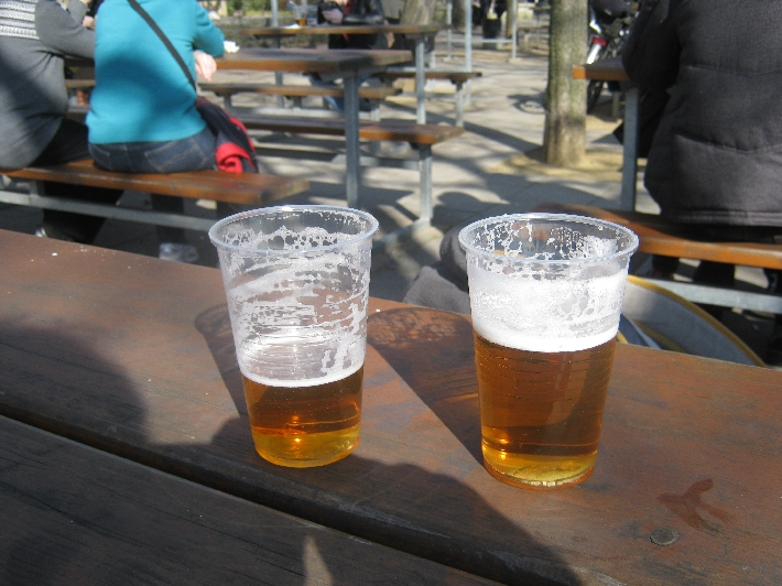 Welcome refreshment in Letna Beer Garden © Ricky Yates