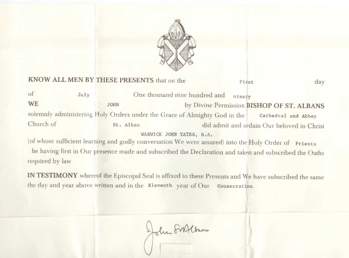 The legal document confirming my ordination
