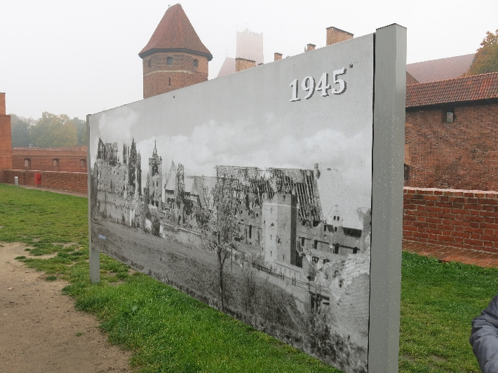 Photographic panel showing Malbork Castle as it was in 1945 © Sybille Yates