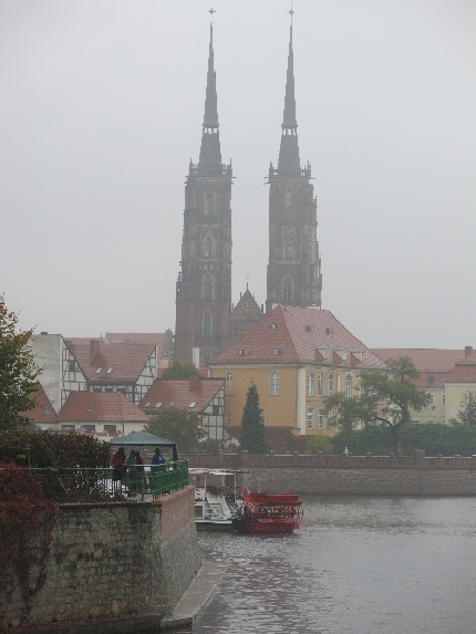 Wroclaw Cathedral from a distance across the Odra/Oder river © Sybille Yates