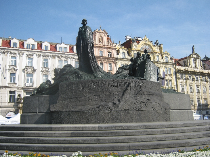 Newly renovated statue of Jan Hus in  Staromestské námestí/Old Town Square, Prague © Ricky Yates