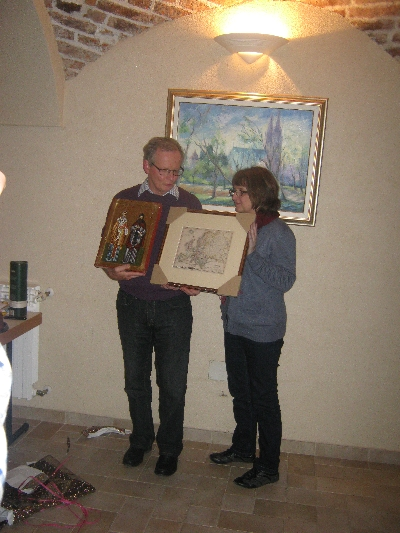 Patrick and his wife Lucille with the icon, framed map & 'interesting' bottle © Ricky Yates