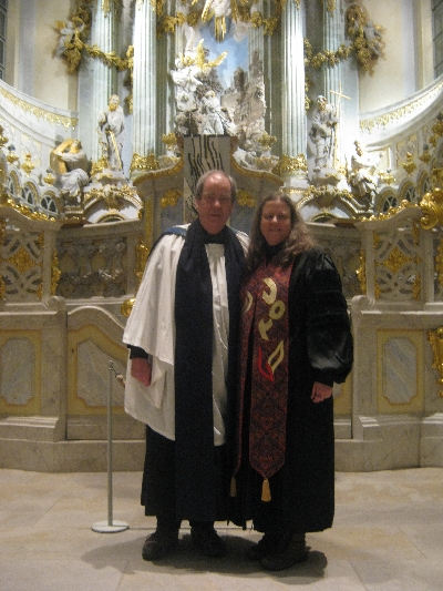 With Rev'd Dr Karen Moritz in the Frauenkirche © Ricky Yates