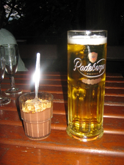 My chocolate dessert and appropriate liquid refreshment © Ricky Yates