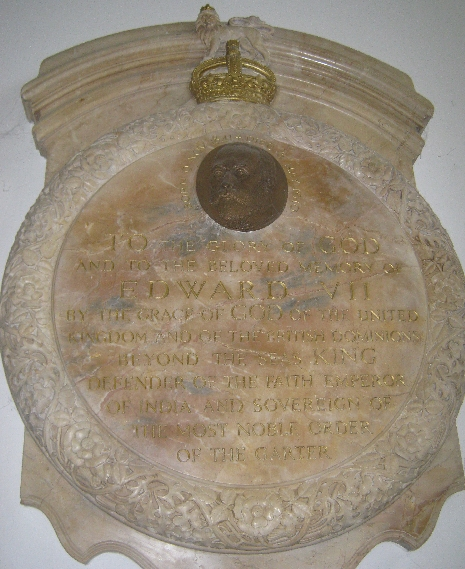 Plaque commemorating King Edward VII worshipping in the Anglican Church © Ricky Yates