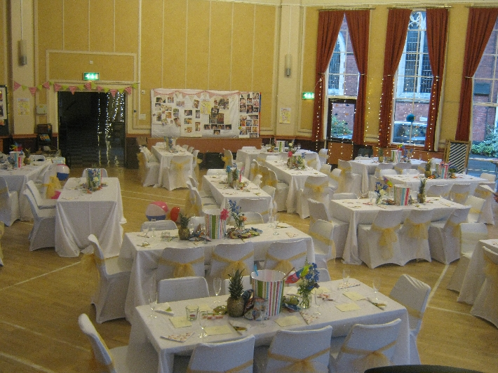 St Jude's Church Hall, suitably decorated for the wedding reception © Ricky Yates