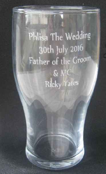 My inscribed beer glass © Ricky Yates